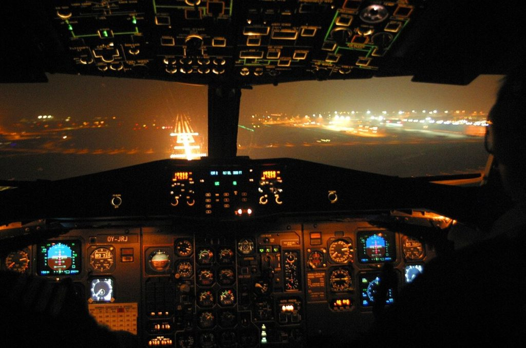ATR-42-320 cockpit at night.
